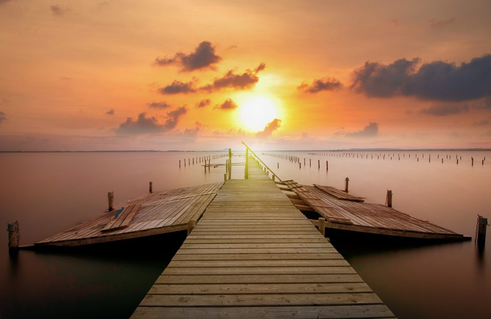 jetty, sunset, clouds